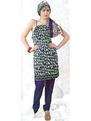 Green and Blue Printed Choodidaar Suit with Rectangular Blocks and Self Weave