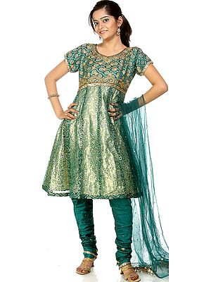 Green Brocaded Shimmer Anarkali Suit with Beadwork and Dori