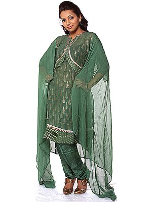 Green Designer Suit with All-Over Embroidered Sequins