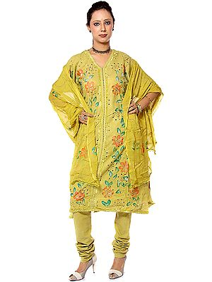 Green Salwar Kameez Fabric with Printed Flowers