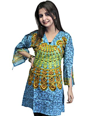 Heritage Blue Printed Kurti from Gujarat with Floral Motifs