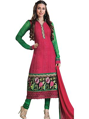 Hot-Pink Designer Chudidar Kameez Suit wth Parsi Embroidered Flowers and Crochet Border