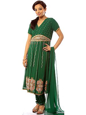 Islamic-Green Anarkali Suit with Embroidered Sequins and Beadwork