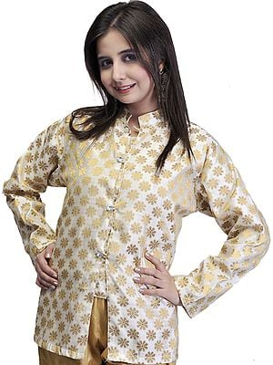 Ivory and Golden Brocaded Short Jacket with Golden Flowers
