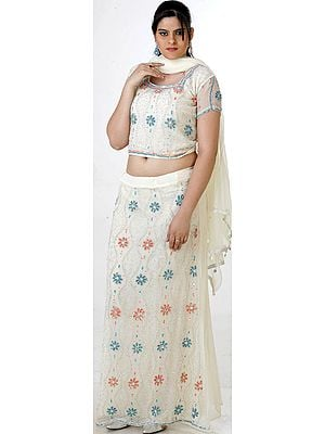Ivory Bridal Lehenga Choli with Beadwork and Sequins