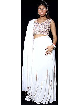Ivory Bridal Lehenga Choli with Multi-Color Beadwork on Blouse