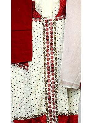 Ivory Designer Salwar Kameez Suit with Velvet Applique and Embroidered Bootis