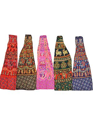 Lot of Five Wrap-Around Long Printed Skirts from Pilkhuwa