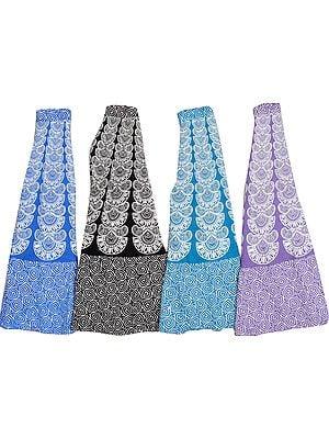 Lot of Four Long Wrap-Around Sanganeri Printed Skirts