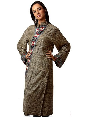 Lead Blue and Gray Reversible Long Jacket from Ranthambhore with Printed Flowers