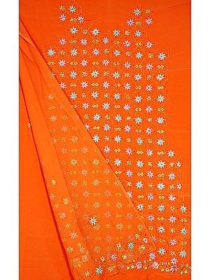 Light Orange Salwar Suit with All-Over Persian Floral Embroidery and Sequins