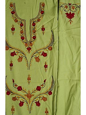 Lime Green Kashmiri Salwar Kameez Fabric with Floral Ari Embroidery by Hand