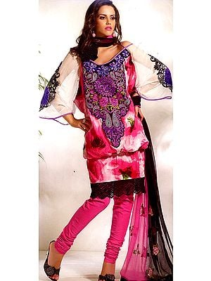 Magenta Designer Chudidar Kameez Suit with Crewel Embroidery on Neck and Crochet Border