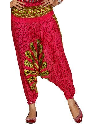 Magenta Harem Trousers with Printed Motifs
