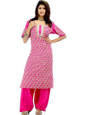 Magenta Two-Piece Paisley Kashmiri Salwar Kameez with All-Over Ari Embroidery