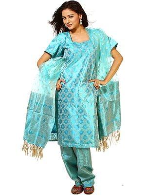 Methyl-Blue Kora Salwar Kameez from Banaras