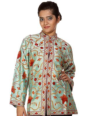 Misty-Jade Kashmiri Jacket with Ari-Embroidered Flowers by Hand
