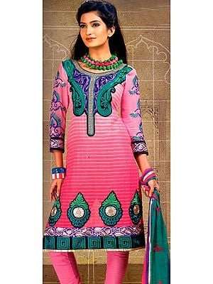 Morning Glory-Pink Chudidar Kameez Suit with Crewel Embroidery on Neck and Patch Border