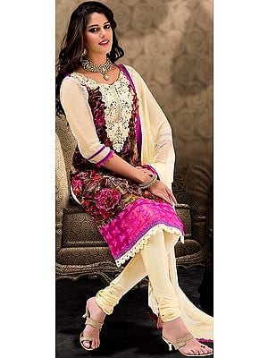 Multi-Color Chudidar Kameez Suit with Embroidered Patch on Neck and Printed Flowers
