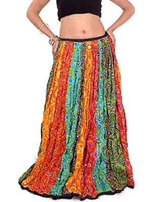 Multi-Color Ghagra Skirt from Rajasthan with Chunri Print