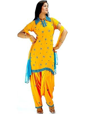 Mustard Bunty Babli Suit with Teal Sequins