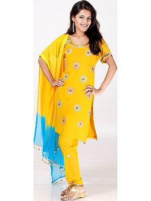 Mustard Chudidar Suit with Mirrors and Brass Beads