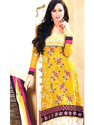 Mustard Long Chudidar Suit with Crewel Embroidered Flowers and Patch Border