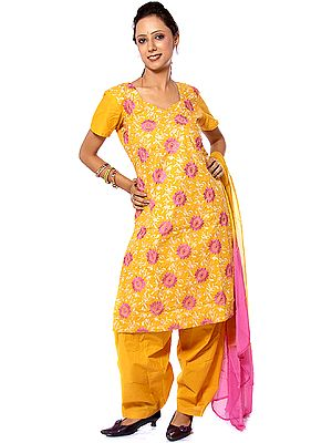 Mustard Salwar Kameez with All-Over Embroidered Chakras