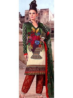 Myrtle-Green Salwar Kameez with Crewel Embroidered Bouquet of Flowers and Patch Border