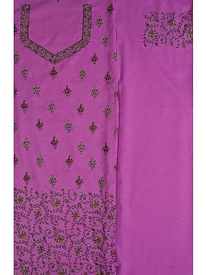 Opera-Mauve Salwar Kameez Fabric with Needle Embroidery by Hand