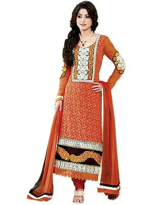 Orange Chudidar Suit with Ari Embroidered Bootis and Patchwork