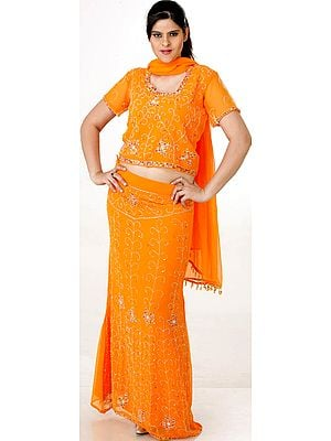 Orange Lehenga Choli with Beadwork and Sequins