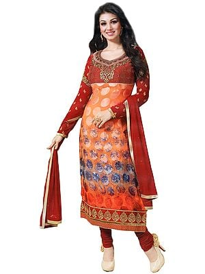 Orange-Rust Choodidaar Printed Kameez Suit with Embroidery on Neck