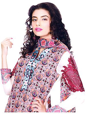 Peach Printed Long Salwar Kameez Suit from Pakistan with Embroidered Sleeves and Silk Border