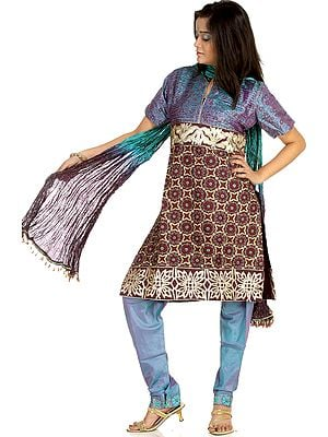 Peacock-Blue Chudidar Salwar Suit with Crewel Embroidery