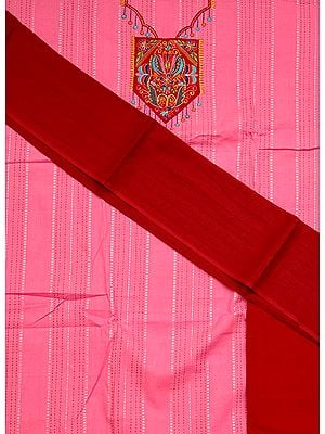 Pink and Maroon South-Cotton Suit with Embroidery on Neck