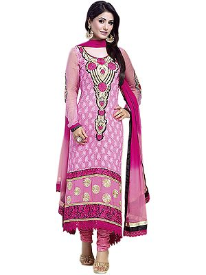 Pink Choodidaar Suit with Ari Embroidered Bootis and Patchwork