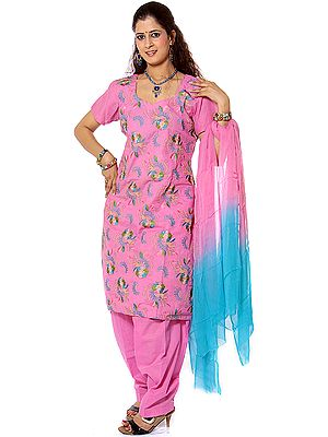 Pink Salwar Suit Fabric with All-Over Ari Embroidery