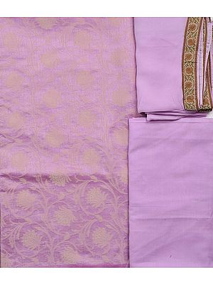 Pink-Lady Salwar Kameez Fabric with Flowers Woven in Self