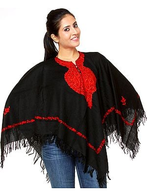 Plain Black Poncho with Ari Embroidery by Hand on Neck and Border