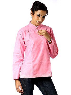 Hot-Pink Banarasi Angarakha Top for Young Ladies