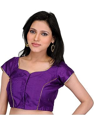 Plain Royal-Purple Choli with Golden Piping