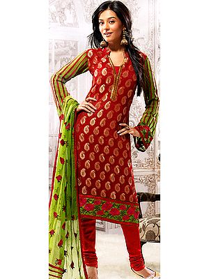 Pompeian-Red Brocaded Salwar Choodidaar Suit with Woven Paisleys and Floral Patch Border