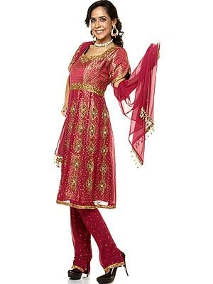 Purple Anarkali Suit with Heavy Beadwork and Brocade Weave