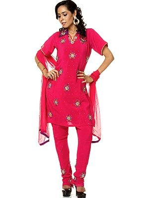 Purple Chudidar Kameez Suit Beadwork and Sequins
