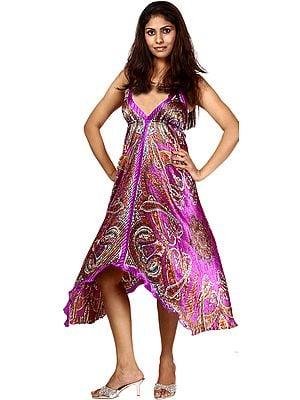 Purple Printed Halter-Neck Summer Dress