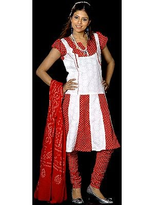 Red and White Polka Dotted Suit with Flaired Chikan Embroidered Kameez