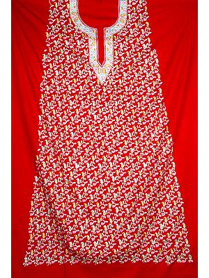 Red Two-Piece Paisley Kashmiri Salwar Kameez with All-Over Ari Embroidery