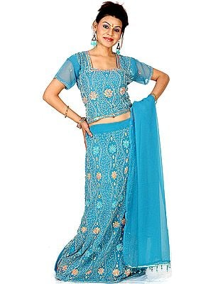 Robin-Egg Blue Lehenga Choli with Beadwork and Sequins