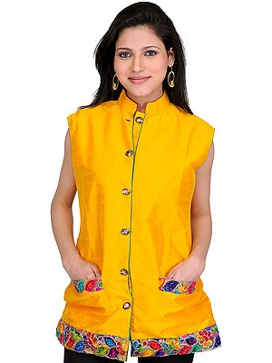 Saffron-Yellow Waistcoat with Embroidered Patch Border